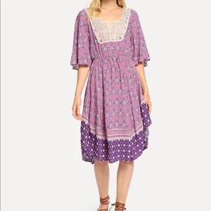 Flounce Sleeve Lace Contrast Flower Print  Dress